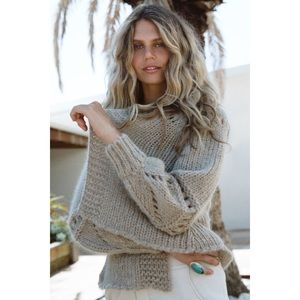 Spell Surf Shack Knit Cardigan in Taupe